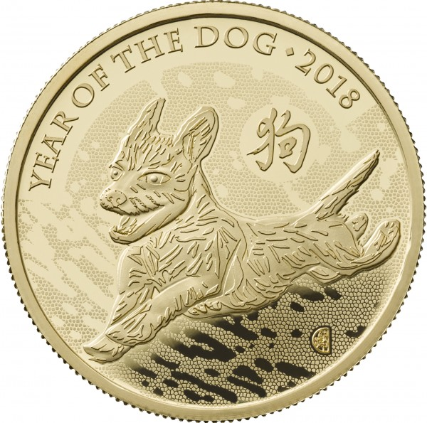 100 £ Pounds 1 Ounce Gold Proof Lunar Year of the Dog United Kingdom 2018