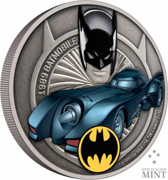 Batmobile - 1989 Batmobil 1 Unze Silber Antique 2$ Niue 2021
