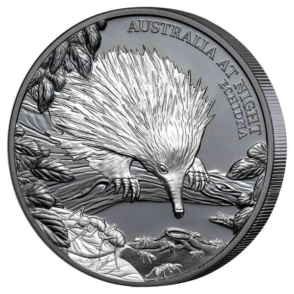 1 Unze Silber Black Proof Australia at Night - Echidna 1$ Niue 2020