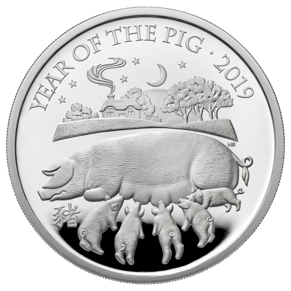 1 Oz Silber Proof Lunar Year of the Pig / Schwein 2 £ United Kingdom 2019