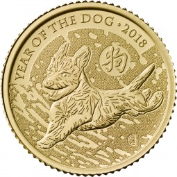 10 £ Pfund 1/10 Oz Gold BU Lunar Year of the Dog Hund United Kingdom 2018