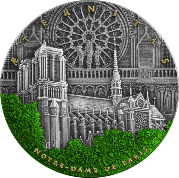 Notre Dame de Paris - Aeternitas 2 Ounce Silver Antique Finish 5$ Niue 2021