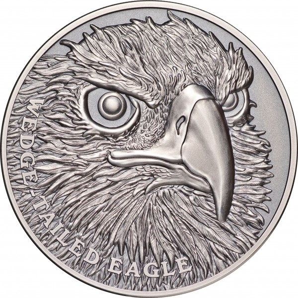 1 Ounce Silver Antique Ultra High Relief Wildlife up close - Wedge Tailed Eagle 1$ Niue 2019