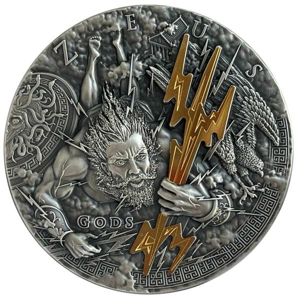 2 Oz Silber Antique Finish Gods - Zeus 2$ Niue 2021