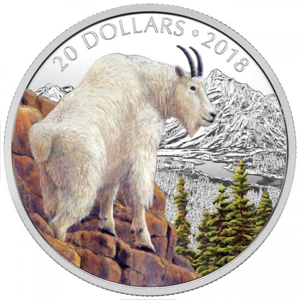1 Oz Silber Proof Majestic Wildlife: Mettlesome Mountain Goat 20 CAD Kanada 2018