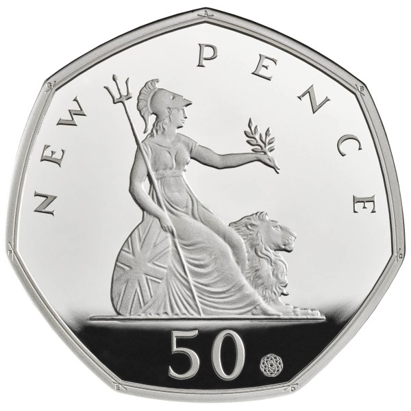 50 Pence Silver Proof 50 Years of the 50p United Kingdom 2019 Royal Mint