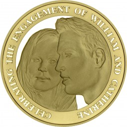 5 £ Pfund Gold Proof Verlobung William & Catherine Alderney 2010