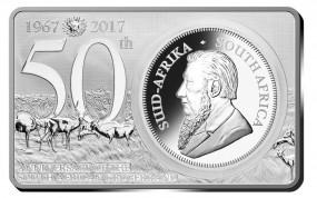 1 Oz + 2 Oz Silber Bar 50 Jahre Anniversary Silver Krugerrand Set Südafrika 2017