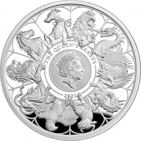 2 Unzen Silber Proof Queen's Beasts Completer Coin 5 £ United Kingdom 2021