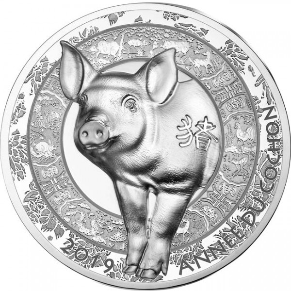 20 Euro 1 Unze Silber Proof High Relief Lunar Year of the Pig / Schwein Frankreich 2019