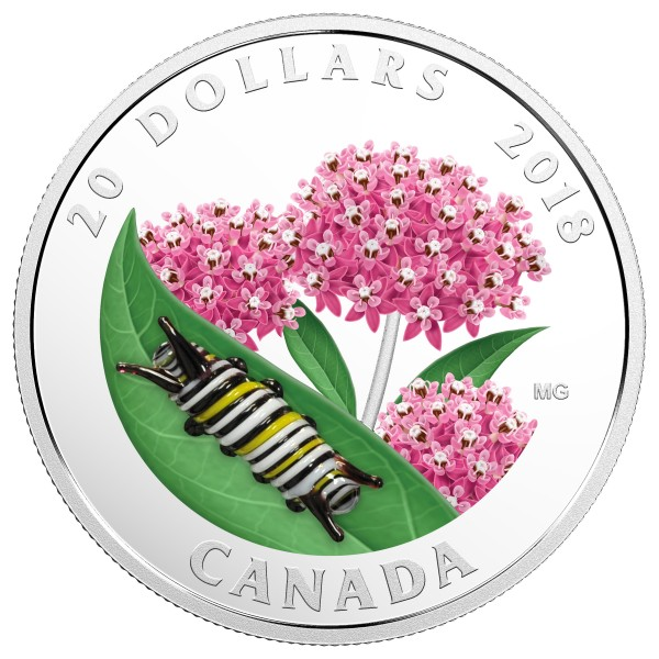20 Dollar Silver Proof Little Creatures: Monarch Caterpillar Canada 2018