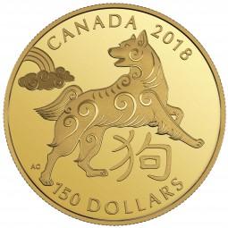150 Dollar Gold Proof Lunar Year of the Dog Jahr des Hundes Kanada 2018 Canada