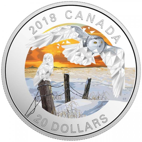 20 Dollar Silber Proof Geometric Fauna Series: Snowy Owls Kanada 2018 Canada