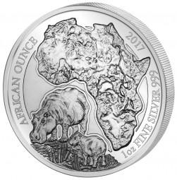 1 Unze Silber Proof Flusspferd Ruanda 2017 Silver Rwanda Hippopotamus