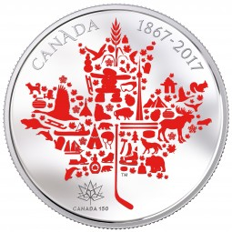 5 Oz Silber Proof Canadian Icons - Symbole Kanadas 50 CAD Kanada 2017 Canada