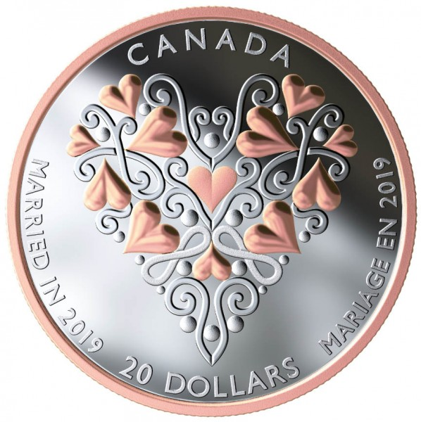 20 Dollar 1 Oz Silber Proof Best wishes on your wedding day Kanada 2019
