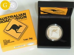 1 Unze Silber Frosted Känguruh Australian Road Sign Australien 2013