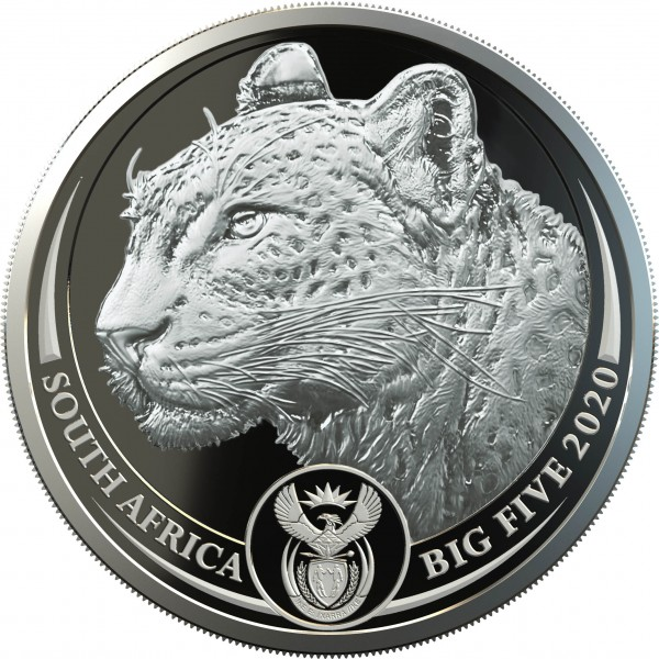 2 x 1 Unze Silber Proof Big Five Leopard Double Capsule Südafrika 2020
