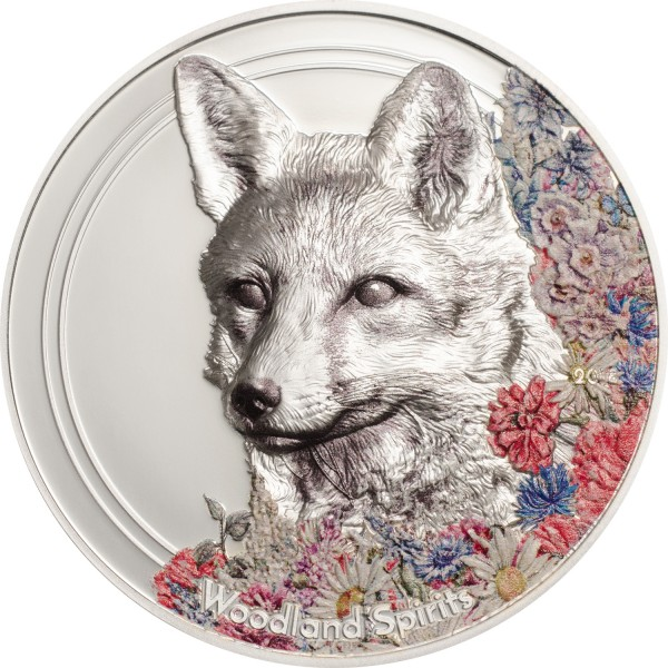1 Ounce Silver Prooflike Woodland Spirits Fox Mongolia 2018