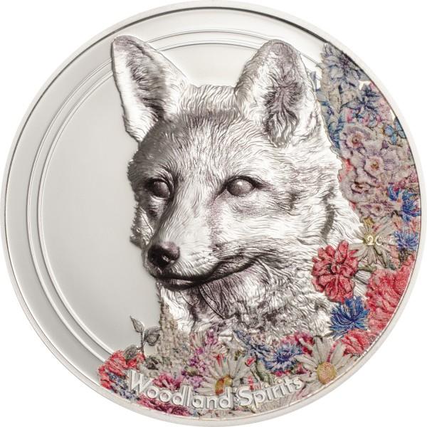 1 Unze Silber Prooflike Woodland Spirits Fox Fuchs Mongolei 2018