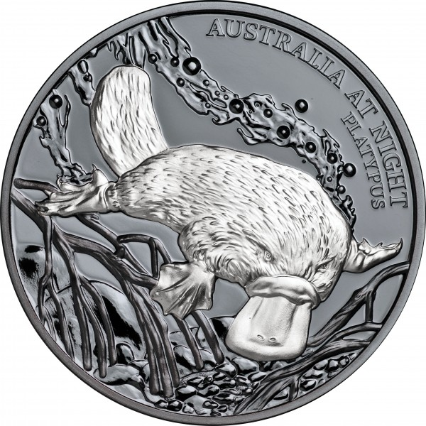 1 Unze Silber Black Proof Australia at Night - Platypus Schnabeltier 1$ Niue 2018