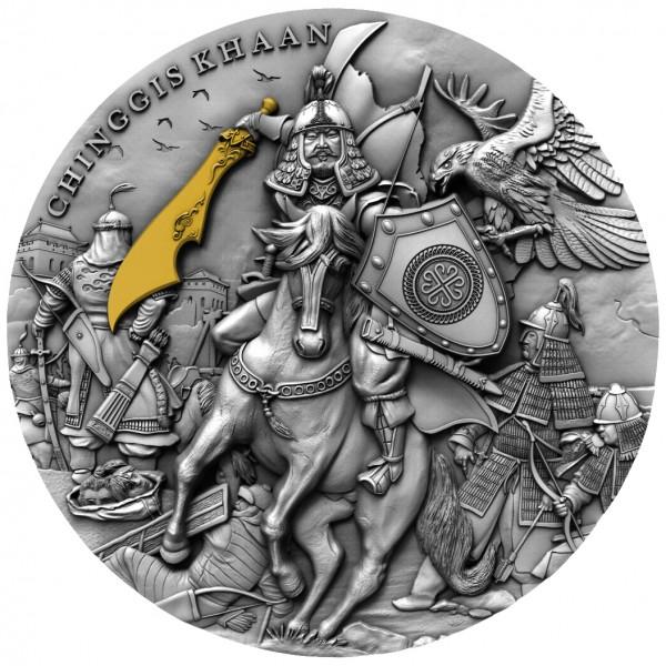 2 Unzen Silber Antique Chiggis Khaan / Dschingis Khan Niue 2019