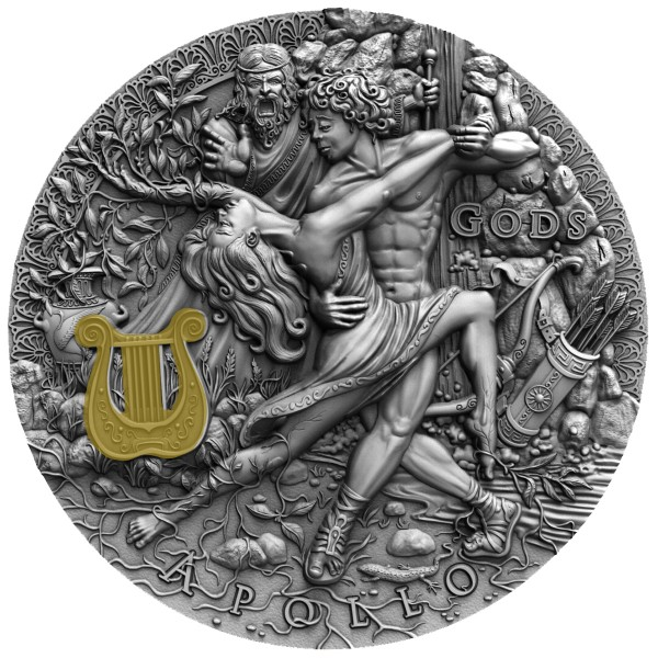 2 Oz Silber Antique Finish Gods - Apollo 2$ Niue 2020