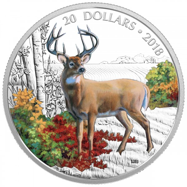 1 Oz Silber Proof Majestic Wildlife: Wandering White-tailed Deer 20 CAD Kanada 2018