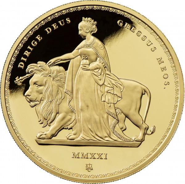 Una & the Lion Masterpiece 1 Unze Gold Proof - 5 £ St. Helena 2021