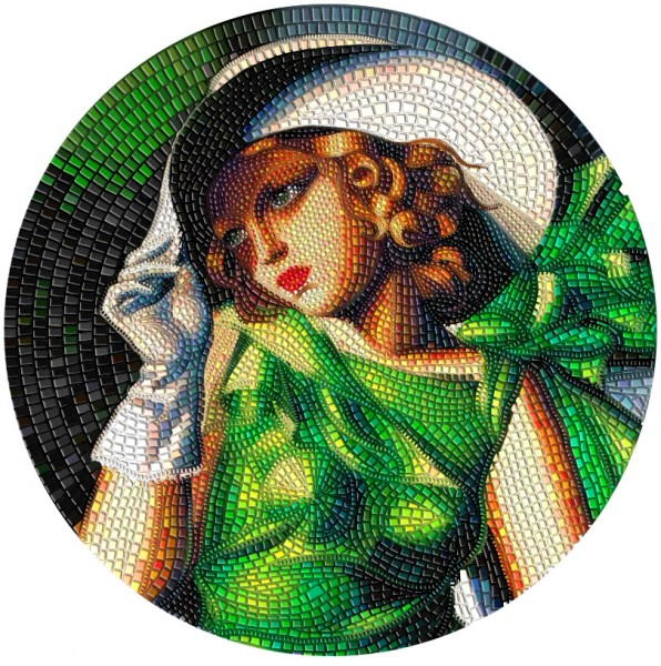 3 Ounce Silver Proof Young Girl in Green Great Micromosaic Passion 20$ Palau 2021