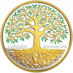 20 Dollar 1 Oz Silber Proof vergoldet Baum des Lebens Kanada 2018 Canada