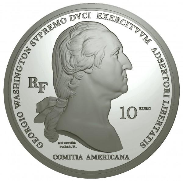 Arrival of Washington in Boston 10 Euro Silber Proof Frankreich 2021