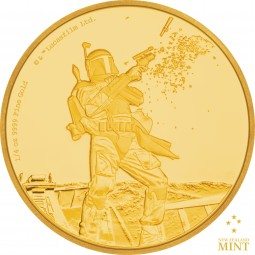 25 $ 1/4 Oz Gold Proof Star Wars Classic: Boba Fett™ Niue 2017