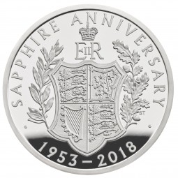 5 £ Pfund Silber Proof Sapphire Coronation United Kingdom 2018 Royal Mint