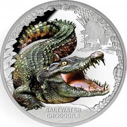 1 Unze Silber Proof Saltwater Crocodile Australia's Remarkable Reptiles Tuvalu 2017
