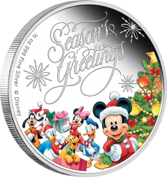 1/2 Unze Silber Proof Disney Season's Greetings 1 $ Niue 2014 Weihnachten