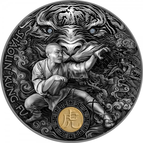Shaolin Tiger 2 Ounce Silver Antique Finish 5 $ Niue 2021