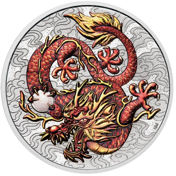Dragon - Chinese Myths and Legends 1 Ounce Silver coloured BU Australia 2021