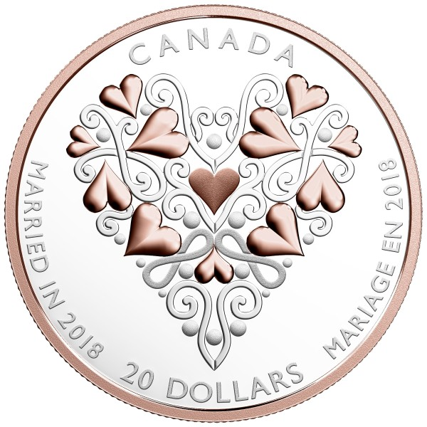 1 Ounce Silver Proof Best wishes on your wedding day 20 CAD Kanada 2018