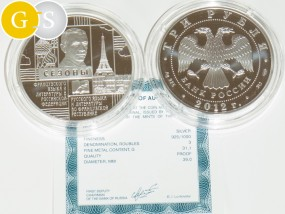 3 Rubel 1 Oz Silber PP Proof Russland 2012 Russian Language and Literature in the French Republic