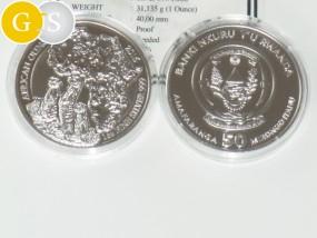 1 Unze Silber Proof Erdmännchen Ruanda 2016 Silver Rwanda Meerkat
