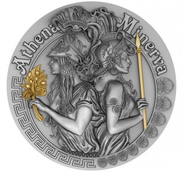 2 Oz Silber Antique Finish High Relief Strong and Beautiful Goddesses Athena & Minerva 5$ Niue 2019