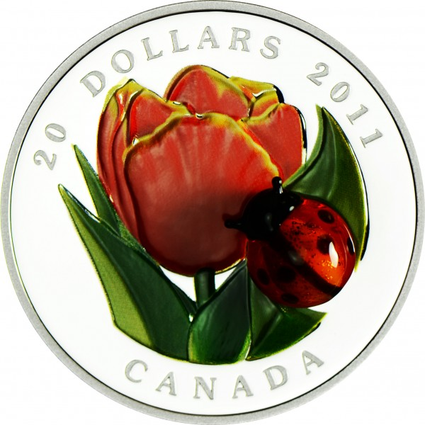 1 Ounce Silver Proof Tulip with Murano Glass Ladybug 20 CAD Canada 2011