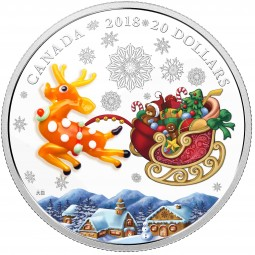 1 Oz Silber Proof Murano glass Holiyday reindeer Kanada 20 CAD 2018