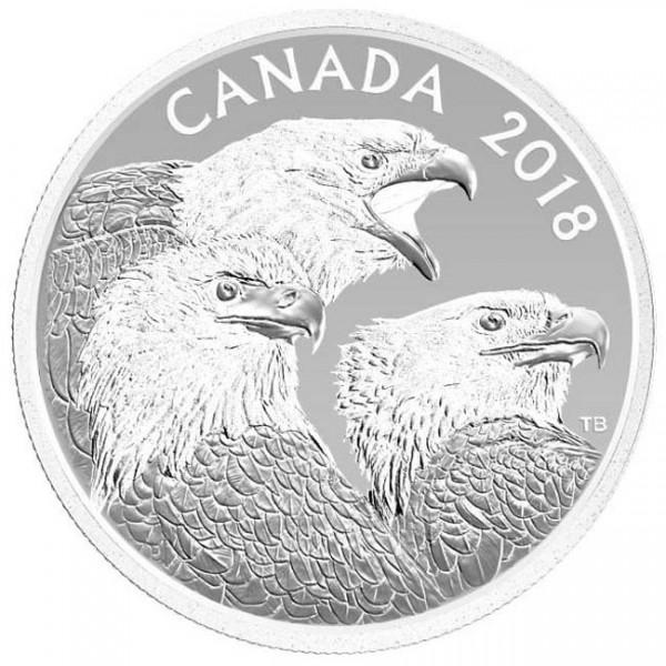 15 CAD Silver Proof Magnificent Bald Eagles Canada 2018