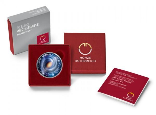 Milchstraße - Faszination Universum 20 Euro Silber Proof Österreich 2021