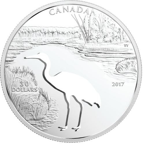 30 CAD Silber Proof Endangered Animal Cutout: Whooping Crane / Kranich 30 Kanada 2017