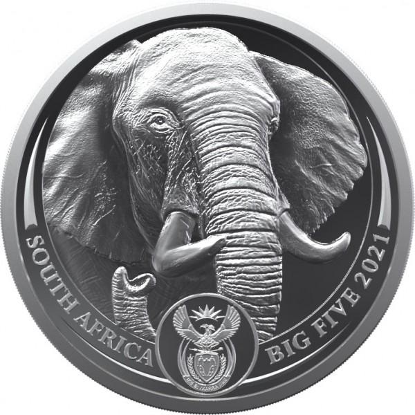 Elefant Big Five II - 1 Unze Silber BU Blister Südafrika 2021