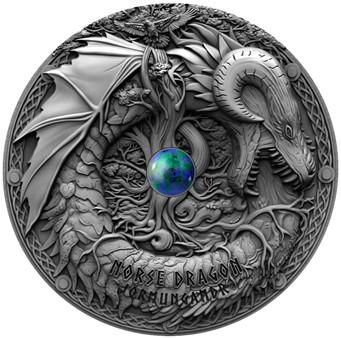 2 Oz Silber Antique Finish Drachen - Norse Dragon 2$ Niue 2019