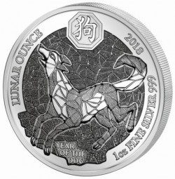 1 Unze Silber Proof Year of the Dog Hund Ruanda 2018 Silver Rwanda